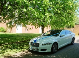 White Jaguar XJL for weddings in Canterbury